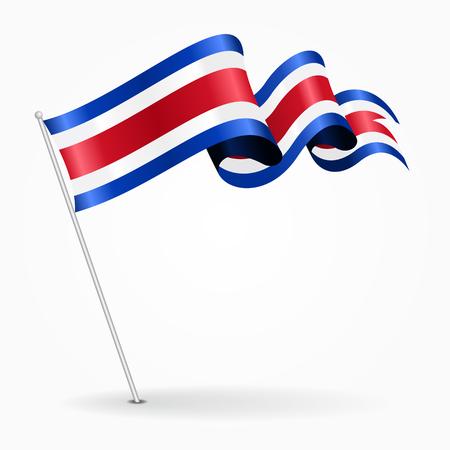 Costa Rican pin wavy flag. Vector illustration. Ilustração