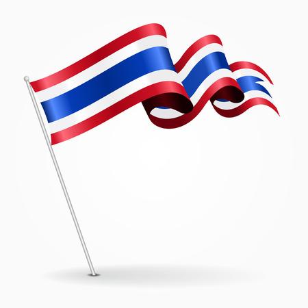 Thai pin wavy flag. Vector illustration.
