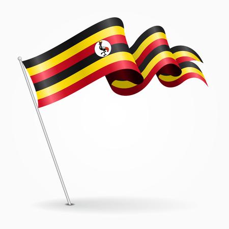 Oegandese pin golvende vlag. Vector illustratie.