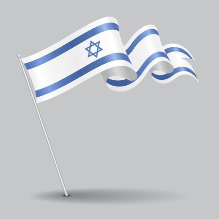 Israeli pin wavy flag. Vector illustration.