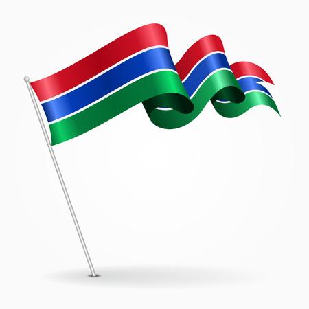 gambia: Gambian pin wavy flag. Vector illustration.