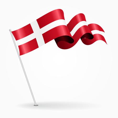 Danish pin wavy flag. Vector illustration.