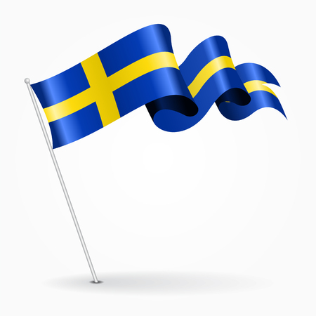 Swedish pin wavy flag. Vector illustration. Illustration