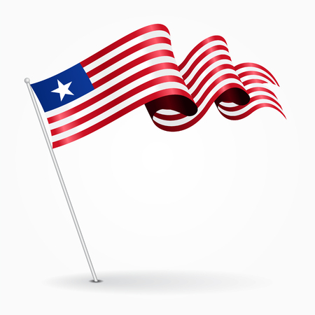 Liberian pin wavy flag. Vector illustration. Illustration