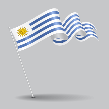 Uruguayan pin wavy flag. Vector illustration.