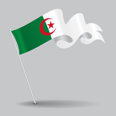 Algerian pin wavy flag. Vector illustration.