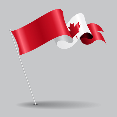canadian flag: Canadian pin wavy flag. Vector illustration.