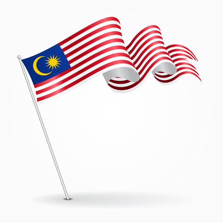 Malaysian pin wavy flag. Vector illustration.