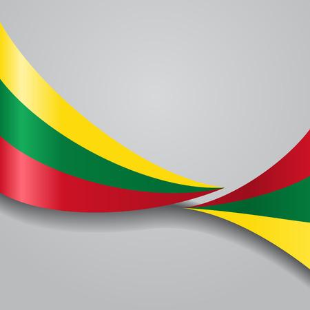 Lithuanian wavy flag. Vector illustration. Çizim