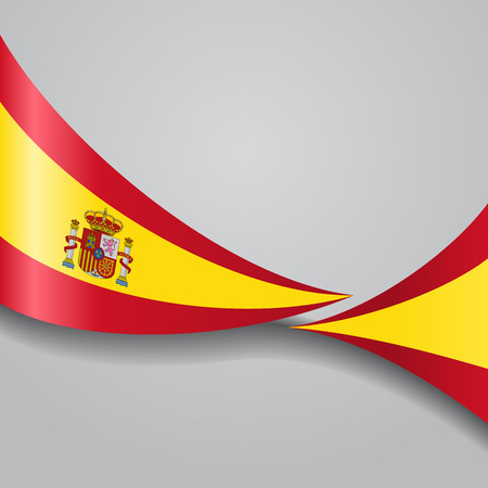 Spanish wavy flag. Vector illustration.