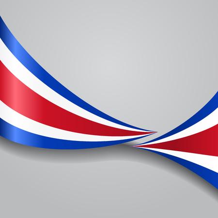 costa rican flag: Costa Rican wavy flag. Vector illustration.