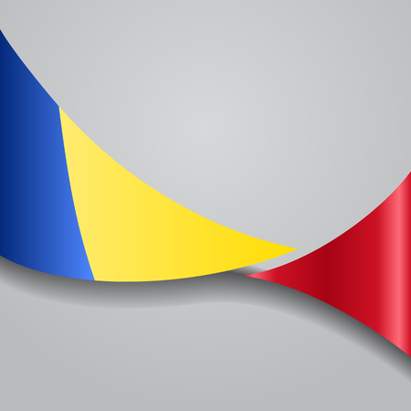 Romanian wavy flag. Vector illustration.