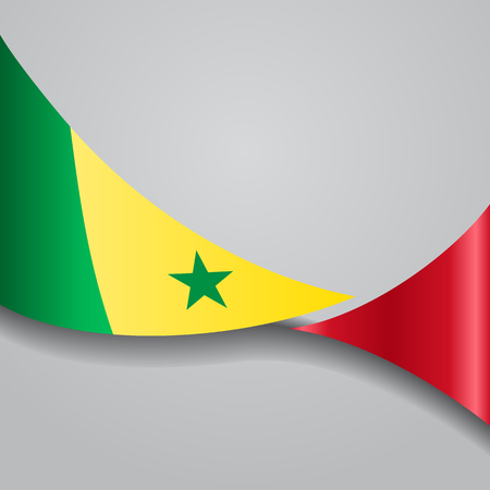 Senegalese wavy flag. Vector illustration. Illustration