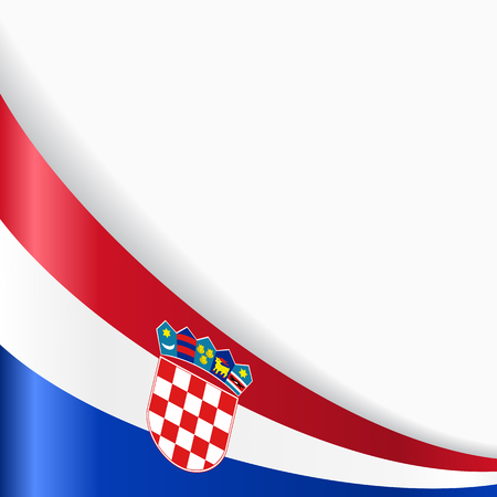 Croatian flag wavy abstract background. Vector illustration. Ilustração