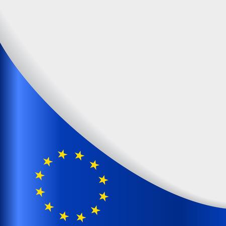 European Union flag wavy abstract background. Vector illustration.