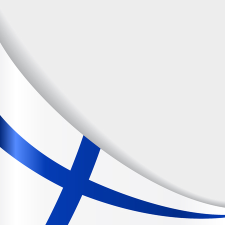 Finnish flag wavy abstract background. Vector illustration.