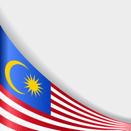 Malaysian flag wavy abstract background. Vector illustration. Иллюстрация