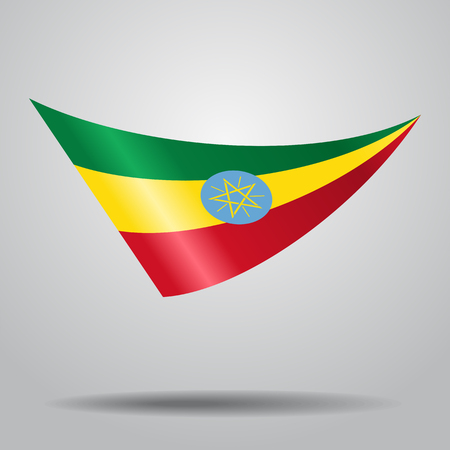 Ethiopian flag wavy abstract background. Vector illustration. Illustration