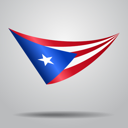 Puerto Rican flag wavy abstract background. Vector illustration. Vettoriali