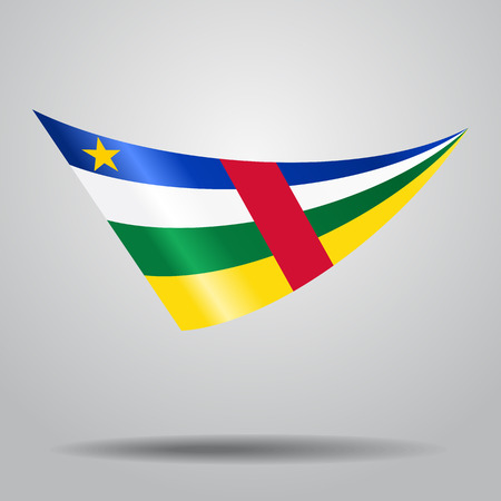 Central African Republic flag wavy abstract background. Vector illustration.