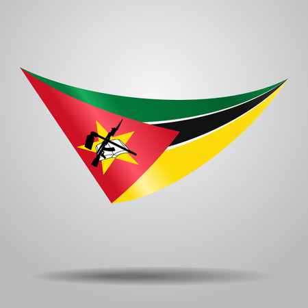 Mozambique flag wavy abstract background. Vector illustration. Illustration