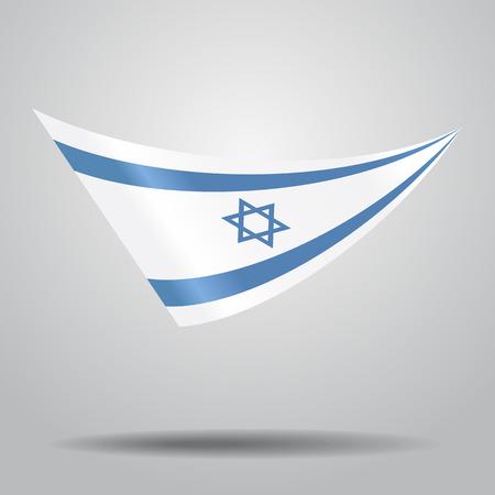 israeli: Israeli flag wavy abstract background. Vector illustration.