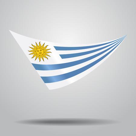 Uruguayan flag wavy abstract background. Vector illustration. Illustration