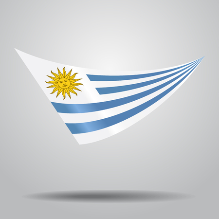 Uruguayan flag wavy abstract background. Vector illustration. Ilustração