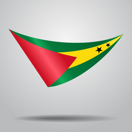 Sao Tome and Principe flag wavy abstract background. Vector illustration. Illustration