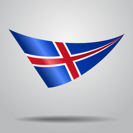 Icelandic flag wavy abstract background. Vector illustration. Illustration