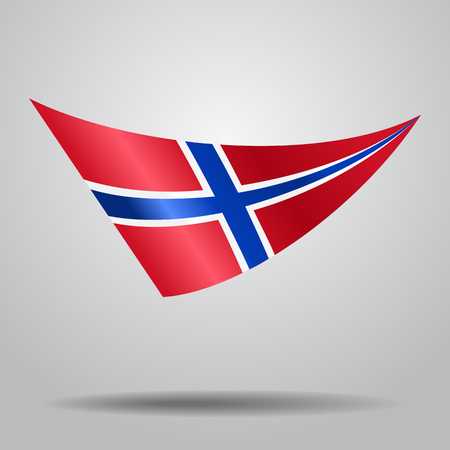 Norwegian flag wavy abstract background. Vector illustration. Illustration
