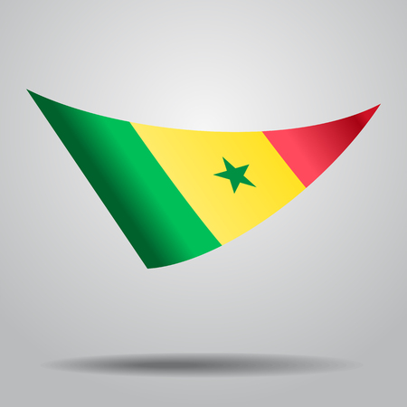 Senegalese flag wavy abstract background. Vector illustration. Illustration