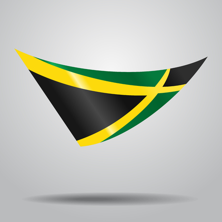 jamaican: Jamaican flag wavy abstract background. Vector illustration.
