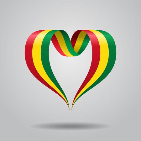 Bolivian flag heart-shaped ribbon. Vector illustration.