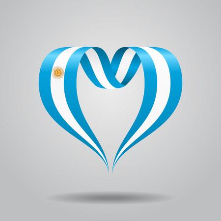 Argentinean flag heart-shaped ribbon. Vector illustration.