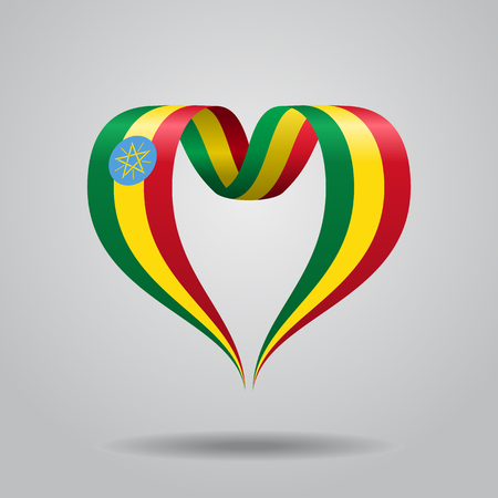 Ethiopian flag heart-shaped ribbon. Vector illustration. Illustration