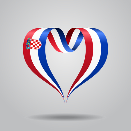 クロアチア国旗ハートのリボン。ベクトルの図。  イラスト・ベクター素材