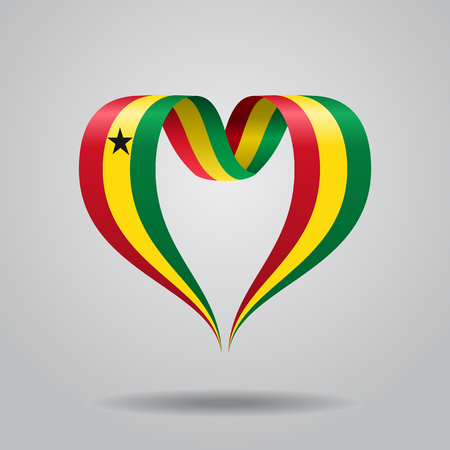 Ghanayan flag heart-shaped ribbon. Vector illustration.