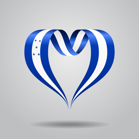 bandera honduras: Honduras flag heart-shaped wavy ribbon. Vector illustration. Vectores