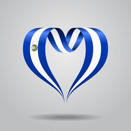 bandera de el salvador: El Salvador flag heart-shaped wavy ribbon. Vector illustration.