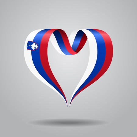Slovenian flag heart-shaped wavy ribbon. Vector illustration.