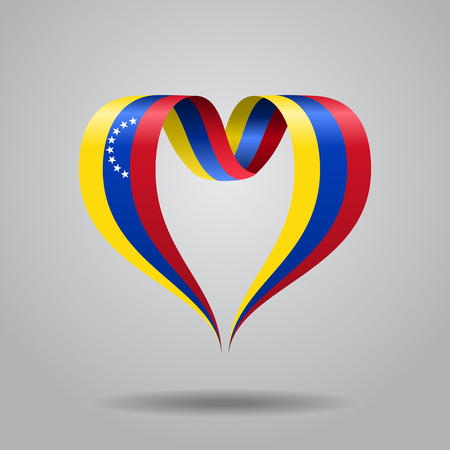 Venezuelan flag heart-shaped wavy ribbon. Vector illustration.