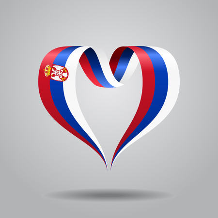 Serbian flag heart-shaped ribbon. Vector illustration. Illustration