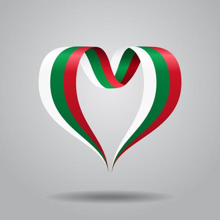 Bulgarian flag heart-shaped wavy ribbon. Vector illustration.