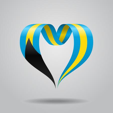Bahamas flag heart-shaped ribbon. Vector illustration.