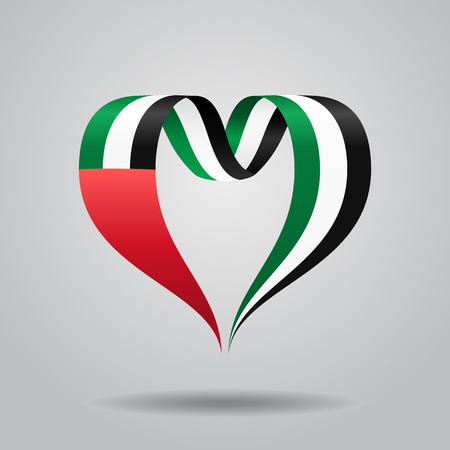 United Arab Emirates flag heart-shaped wavy ribbon. Vector illustration.