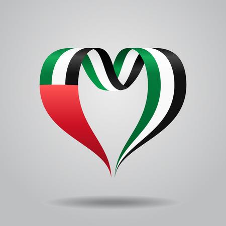 United Arab Emirates flag heart-shaped wavy ribbon. Vector illustration.