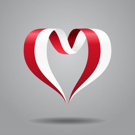 Indonesian flag heart-shaped wavy ribbon. Vector illustration.