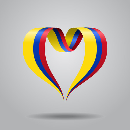 Colombian flag heart-shaped wavy ribbon. Vector illustration.