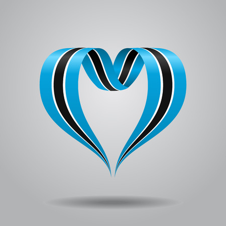 Botswana flag heart-shaped wavy ribbon. Vector illustration.